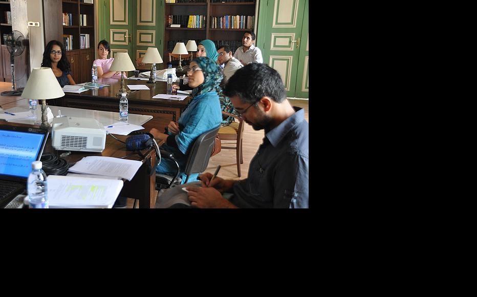 Basic journalism skills workshop with editor Raed Rafei (right). (Photo: Susanne Fischer)