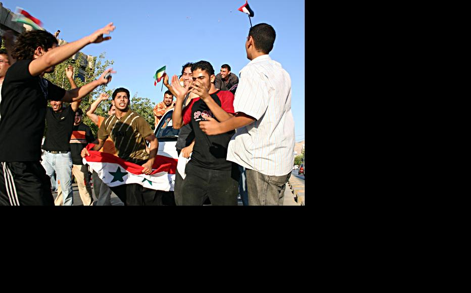 Fans in Erbil, Iraqi Kurdistan, celebrate Iraq's 1-0 defeat of Saudi Arabia to win the 2007 Asian Cup. (Photo: Ammar Sati)