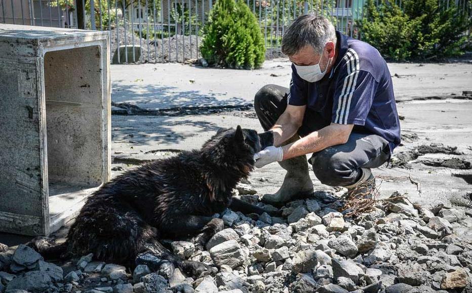 In Topcic Polje, a local man mourns the death of his dog, killed by a landslip. May 21, 2014.