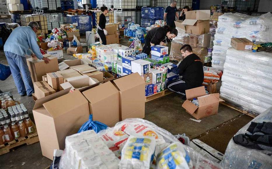 Aid supplies collected in Sarajevo for delivery to flood victims. May 17, 2014.