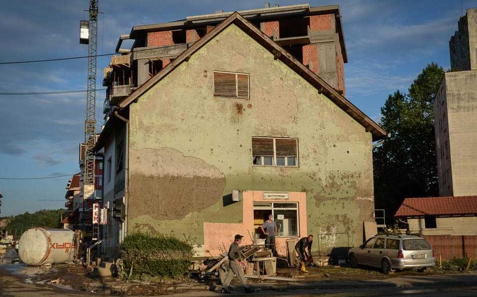 This building in Doboj shows clearly how high the waters rose. May 20-21, 2014.