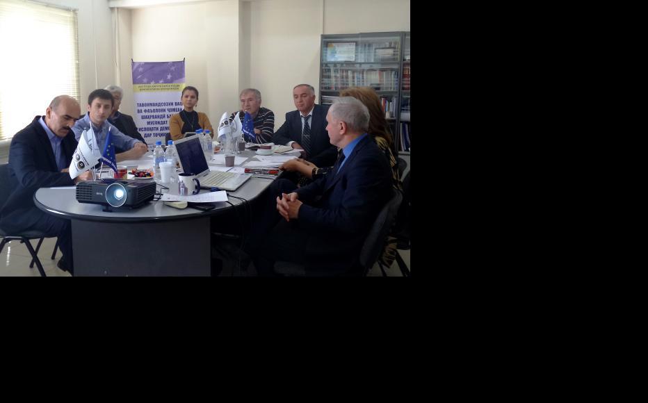 Tajik panellists during the April 7 Skype debate organised by IWPR. (Photo: IWPR)