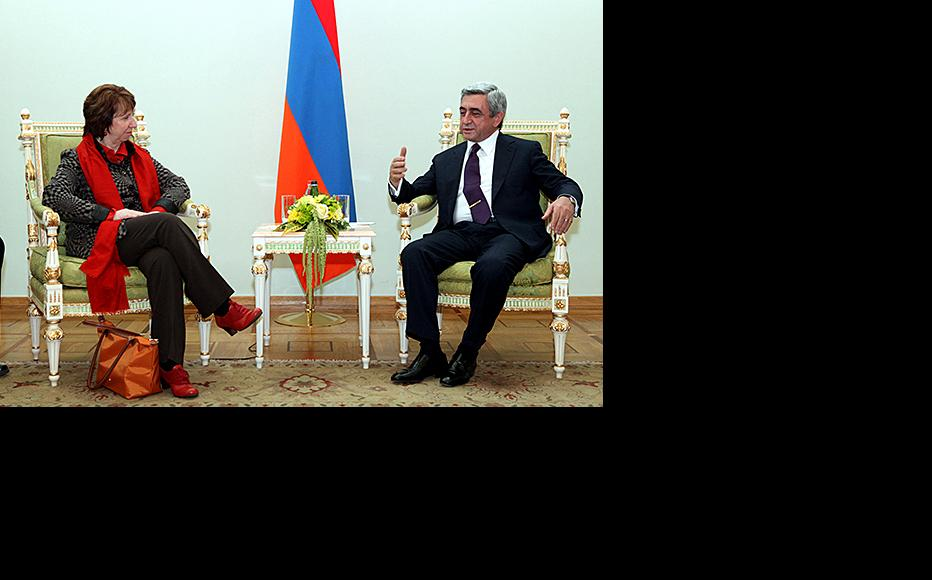EU external affairs commissioner Catherine Ashton with Armenian president Serzh Sargsyan. (Photo: Photolure agency)