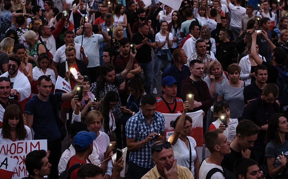 Demonstrators participate in an anti-Lukashenko rally on August 18, 2020 in Minsk, Belarus.