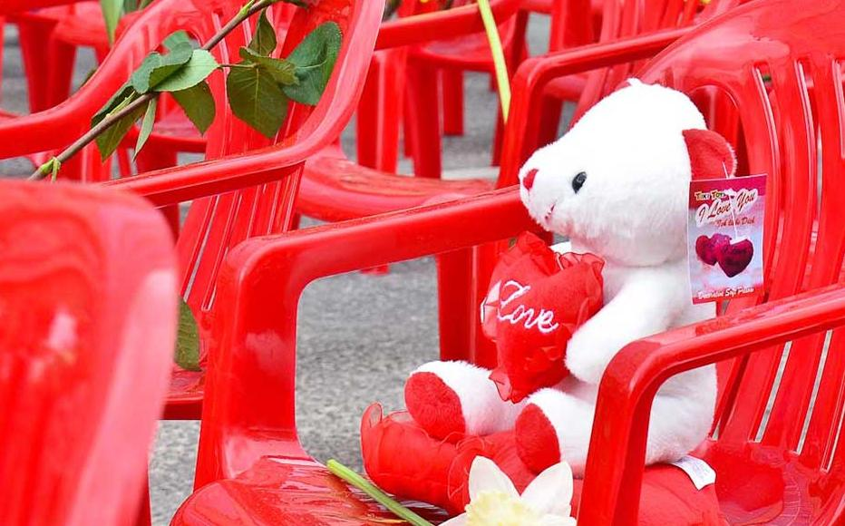 Toys were left on seats that represented the children killed in the war waged on the city.