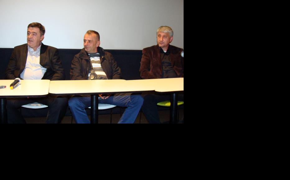 Amir Reko, Milivoje Carapic and Dragan Simic at the round table discussion in Sarajevo. (Photo: Dzenana Halimovic)