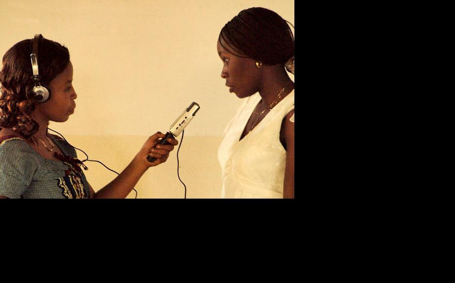 Two IWPR trainees practicing interviewing techniques during a radio training in June 2010. (Photo: Melanie Gouby)