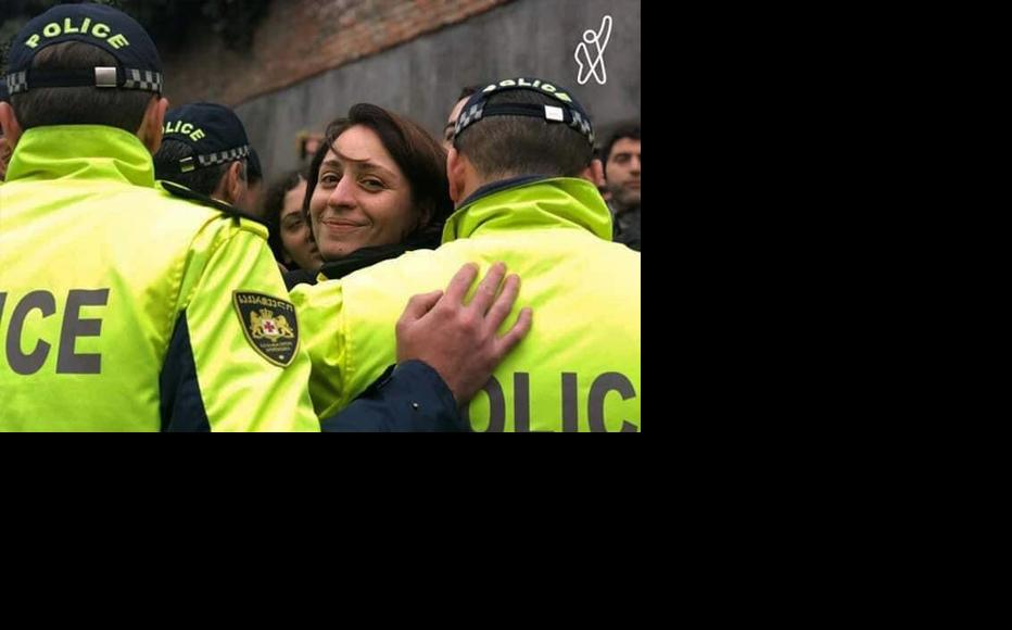 Elene Khoshtaria being taken away by the police after protesting for the proportional election systems. (Photo: E. Khoshtaria's Campaign)