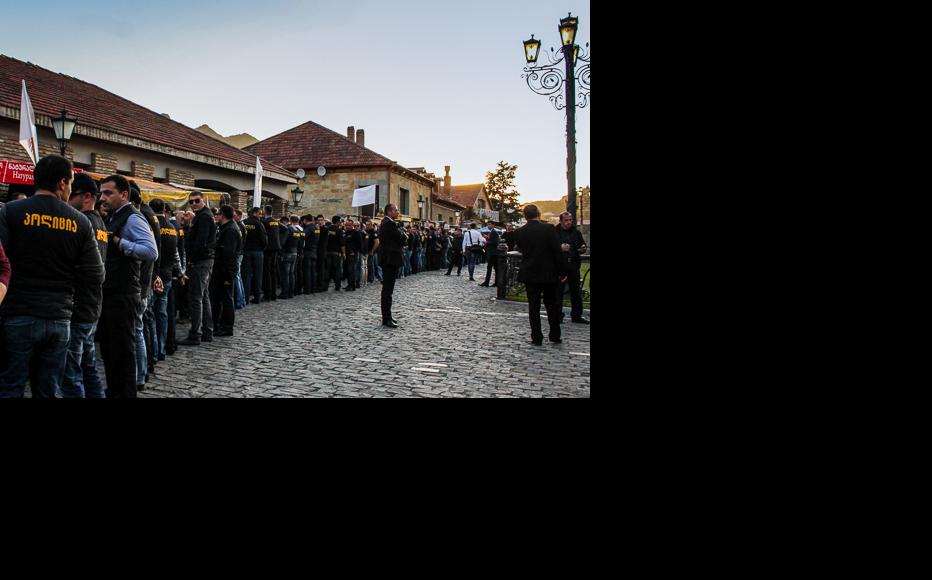 Security measures were tightened at the entrance of the Svetitskhoveli cathedral. Dozens of police officers stopped the protestors breaking through the cordon. The rally ended peacefully. (Photo: Tamar Svanidze)