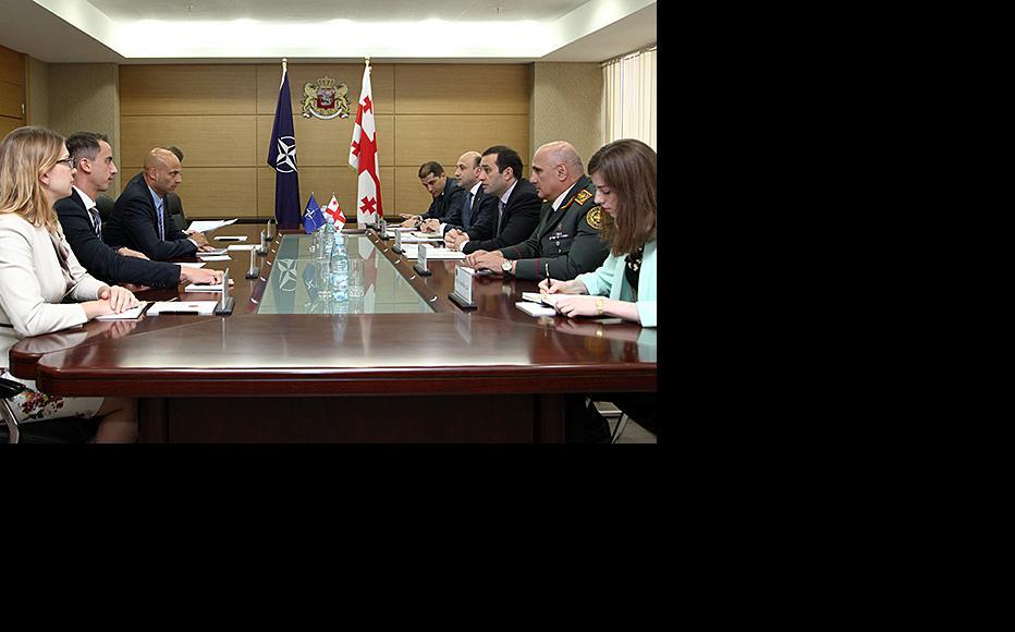NATO envoy James Appathurai (third from left) meeting Georgian defence minister Irakli Alasania (third from right). (Photo: Georgian defence ministry)