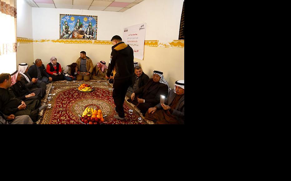 IWPR Champions received by the dignitaries of al-Salamiya. (Photo: IWPR)