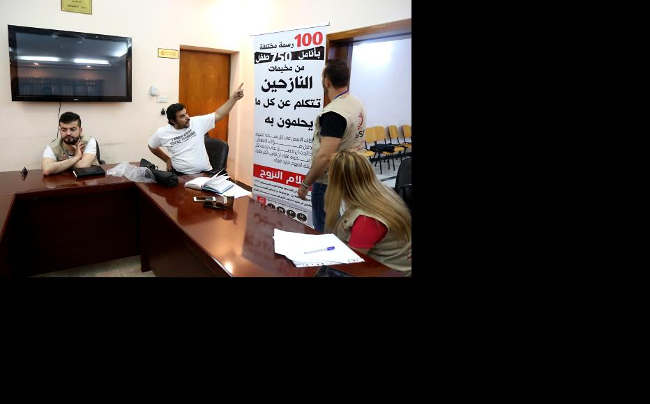 Preparations for the exhibition were held at the IWPR office in Baghdad. (Photo: IWPR)