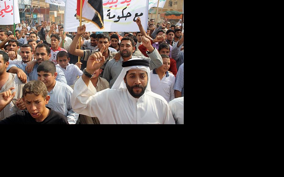 """Protesters demanded an end to """"de-Baathification"""" and greater autonomy for their region. (Photo: IWPR)"""