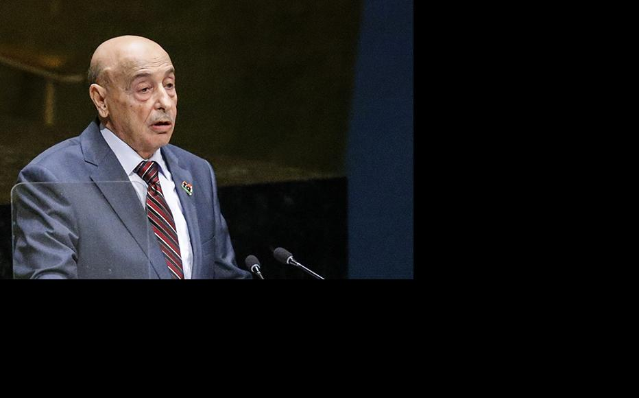 The head of Libya's parliament, Agila Saleh Essa Gwaider, addresses the United Nations General Assembly, September 27, 2014. (Photo: Kena Betancur/copyright Getty Images)
