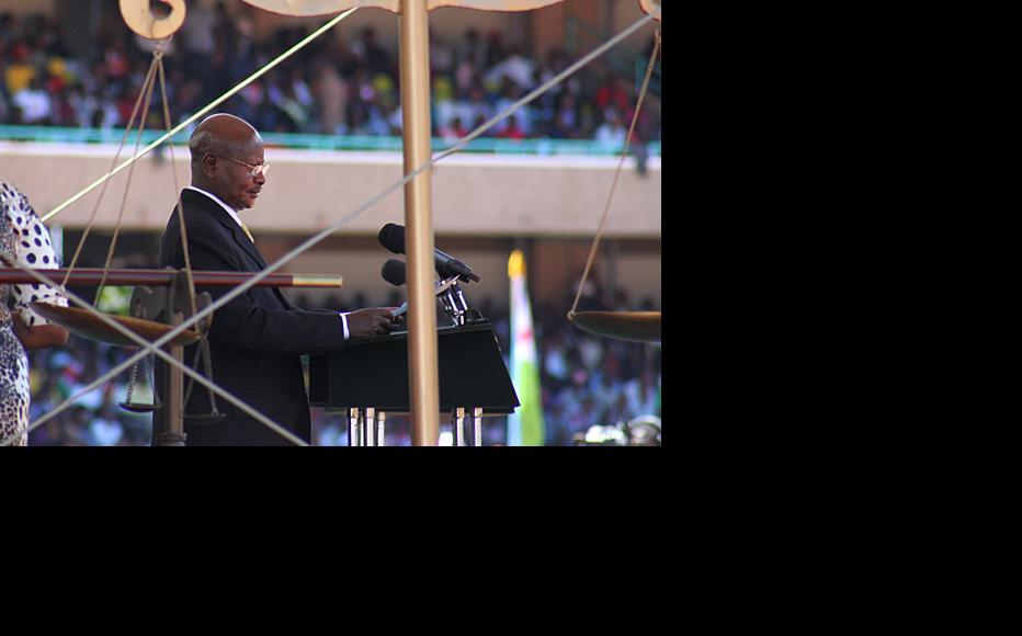 Museveni delivers his speech during President Uhuru Kenyatta's swearing-in ceremony at the Kasarani stadium in Nairobi. (Photo: Capital FM)