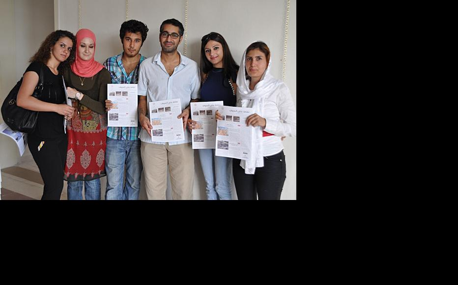 Middle East editor and trainer Raed Rafei with members of the Sour (Tyre) reporting team. (Photo: IWPR)