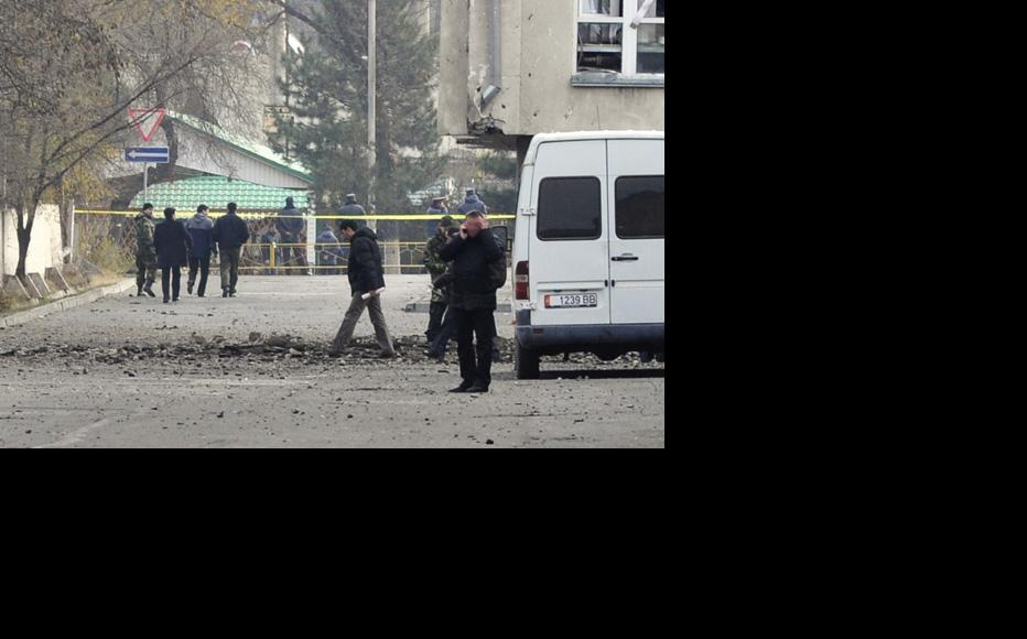 Police go over the ground where the explosives were planted in what looks like a deliberate bombing. (Photo: Grigory Mikhailov)