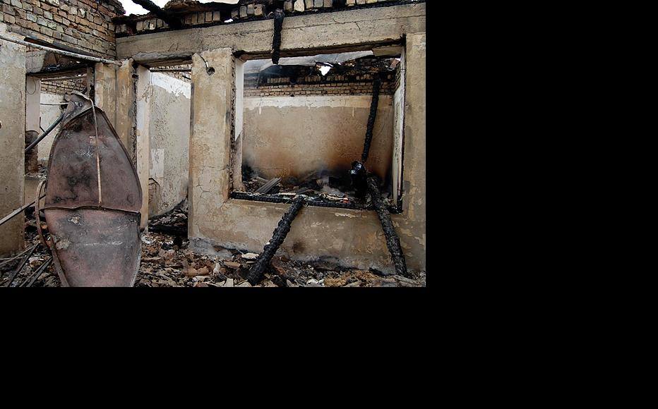 Interior of the house after it was gutted in an arson attack. (Photo: Ernist Nourmatov)