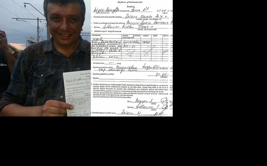 Shahin Rzayev with the receipt for the confiscated book. (Courtesy of Shahin Rzayev.)