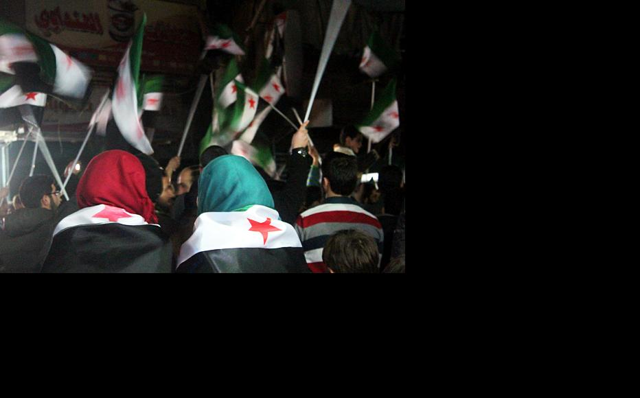 A picture taken during the annual celebrations marking the start of the Syrian revolution in the Bustan neighbourhood of Aleppo. (Photo: Salah al-Ashqar)
