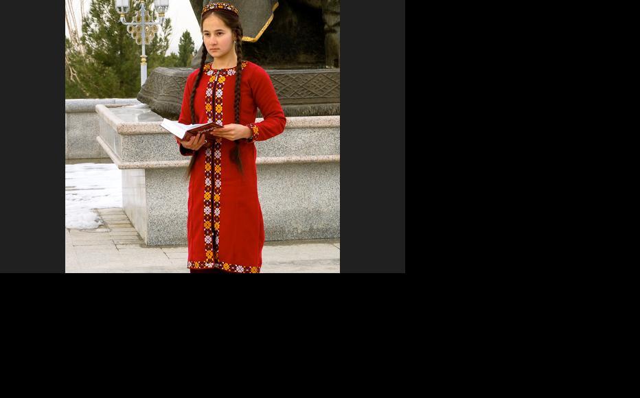 A Turkmen student in traditional dress. (Photo: Helen Stevenson)