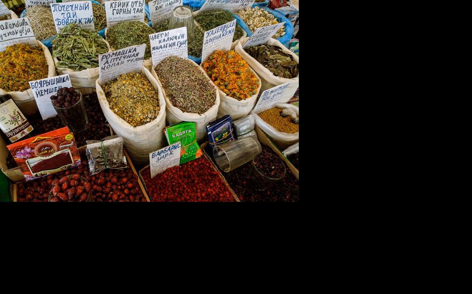 Herbs on sale at Ashgabat bazaar (market). (Photo: Helen Stevenson)