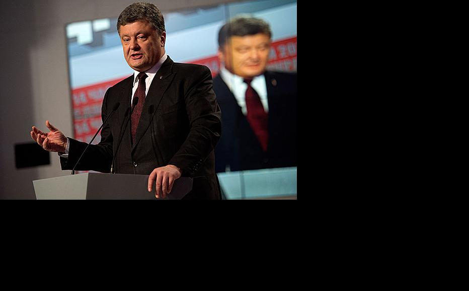 Ukrainian president Petro Poroshenko speaking the day a parliamentary election was held, October 26, 2014. (Photo: David Ramos/Getty Images)