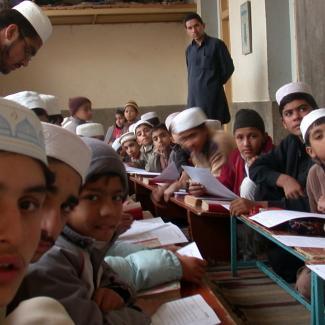 Students in class at the Madrasa Tajveed ul Quran, Peshawar, Pakistan.