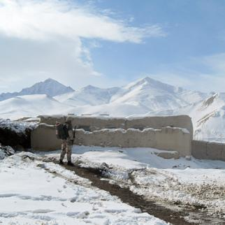 A soldier from the Provincial Reconstruction Team in Ghor during a joint mission with Afghan officials to look at security in the remote Pasaband district in early February 2011. (Photo: Isafmedia)