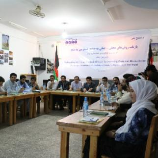 Afghan participants in Herat speak to Nepalese counterparts via video link. (Photo: IWPR)