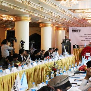 Mohammad Qasem Halimi of the Afghan National Ulema Council addresses IWPR's Kabul event. (Photo: IWPR)