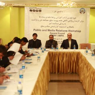 Attendees at the two-day IWPR training workshop for High Peace Council representatives in Kabul. (Photo: IWPR)