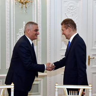 Armenian Deputy Prime Minister Mher Grigoryan meets with Alexey Miller, Gazprom's Chairman of the Management Committee and Deputy Chairman of the Board of Directors. (Photo: Gazprom)
