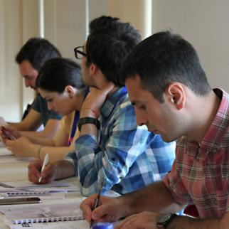 Young journalists receive training in responsible reporting and countering violent extremism. (Photo: IWPR)
