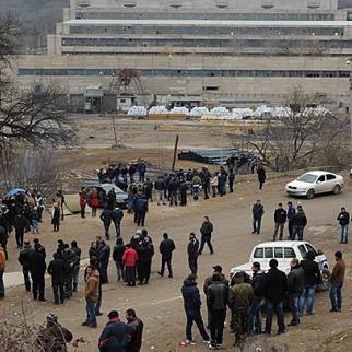 Miners on strike in Kazreti earlier this year. (Photo: Iana Korbezashvili)