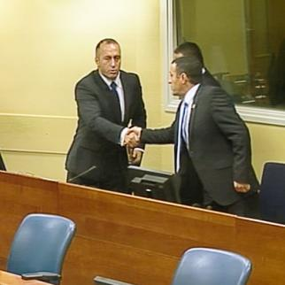 Ramush Haradinaj (left), Idriz Balaj and Lahi Brahimaj in the ICTY courtroom moments after being acquitted. (Photo: ICTY)