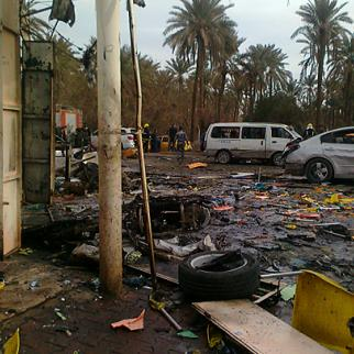 Aftermath of a car bomb in the Kadhimiya district of northern Baghdad that left six people dead. (Photo: IWPR)