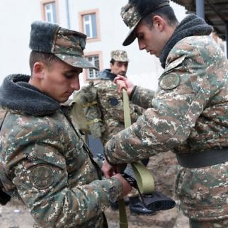 Before going to the front, Armenian volunteers receive ammunition and combat uniforms. (Photo: Photolure Agency)