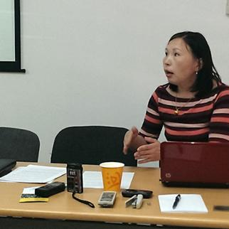 Aigul Kaptaeva addresses a May 22 discussion organised by IWPR and the Institute for National and International Development Initiatives. (Photo: IWPR)