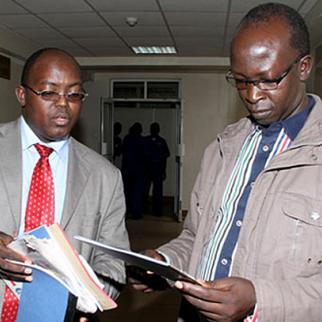 Walter Barasa (right) with his lawyer Kibe Mungai. (Photo: Capital FM)