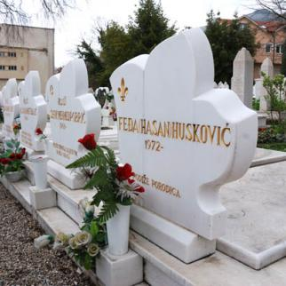 Fedja Huskovic's headstone, with his name and year of birth engraved on it, but a space for the year of death. (Photo: Ajdin Kamber)
