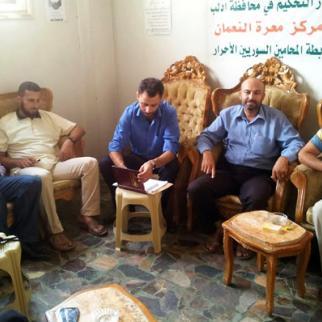 Members of Idlib's arbitration court. (Photo: Sonia al-Ali)