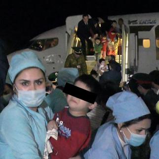 Children from Iraq arrive in Dushanbe. (Photo: CABAR/IWPR)