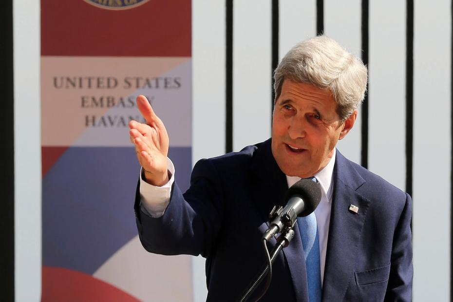 Secretary of State John Kerry delivers remarks during the flag-raising ceremony at the recently reopened U.S. Embassy August 14, 2015 in Havana, Cuba.