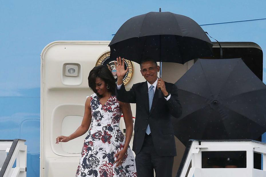 President Barack Obama arrives with his family for a 2 day visit to Havana, Cuba. 20 March 2016.