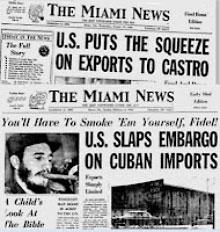 Miami News clippings from 1960 announcing the embargo over Cuba.