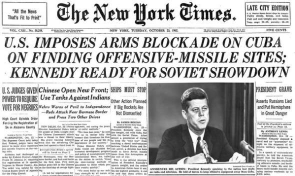 New York Times cover page on October 21, 1962.